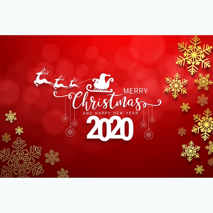 Merry Christmas Poster, Silhouette 2020 christmas card free vector