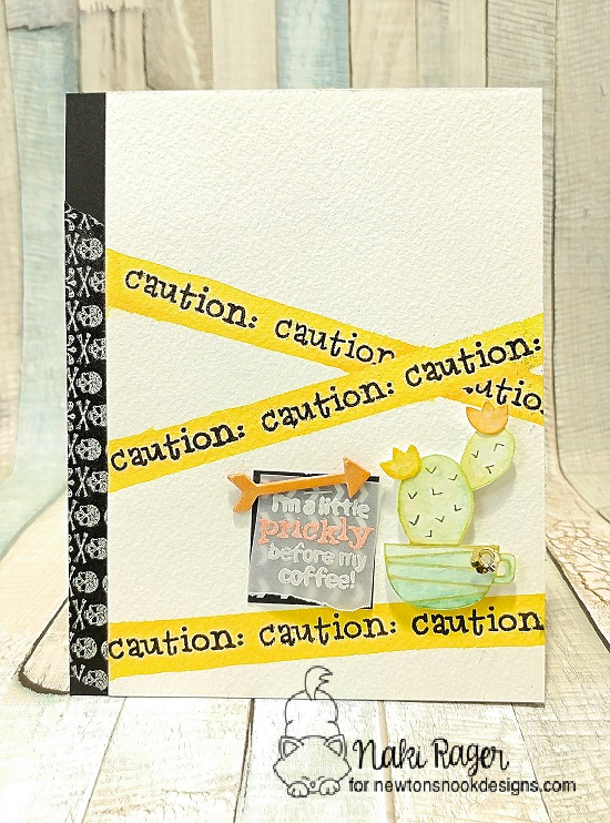 Caution Cactus Card by Naki Rager | Cuppa Cactus Coffee and Cactus stamp set by Newton's Nook Designs #newotnsnook