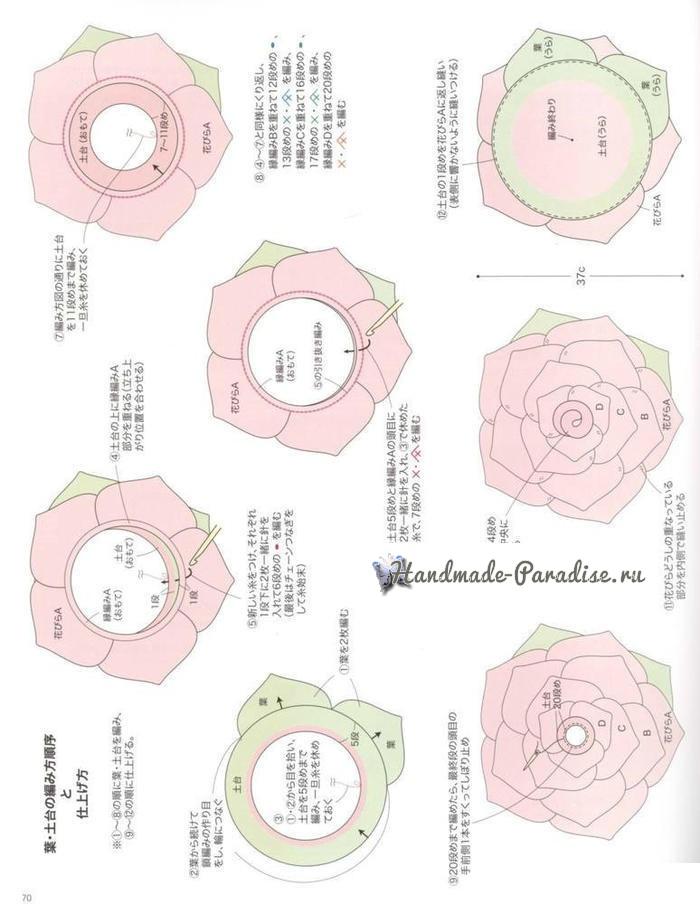 Схемы вязания подушки-сидушки «Роза» (5)