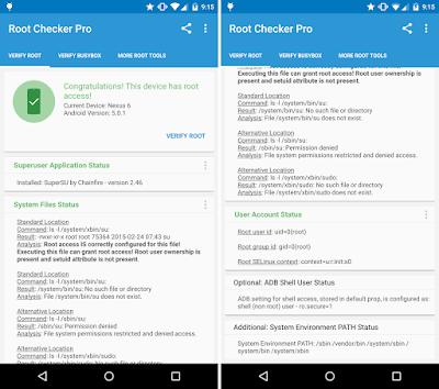 Tampilan Aplikasi Root Checker Pro