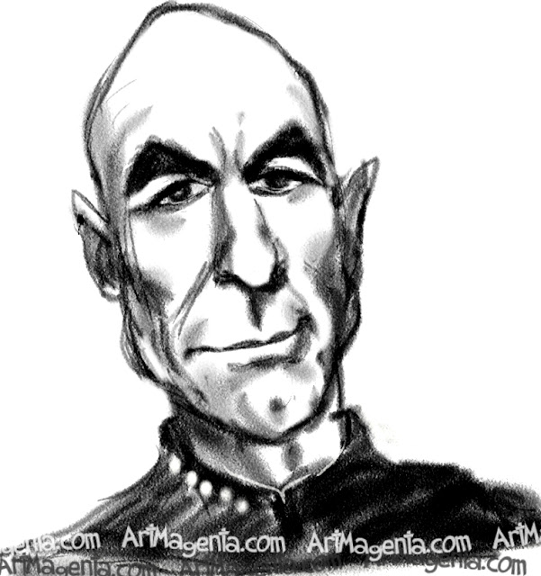 Patrick Stewart caricature cartoon. Portrait drawing by caricaturist Artmagenta