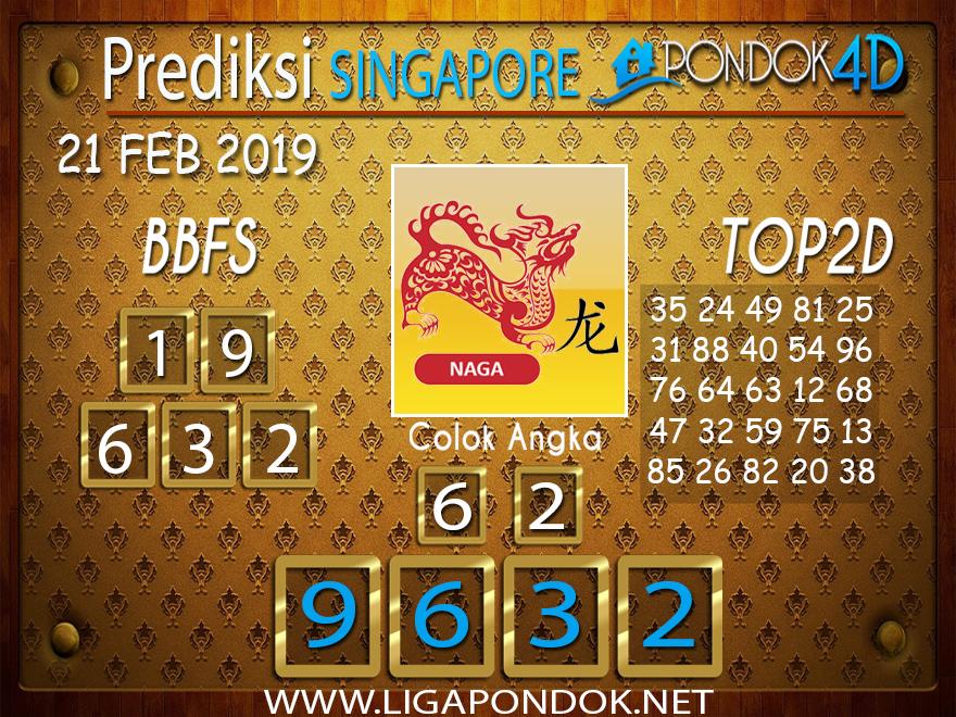 Prediksi Togel SINGAPORE PONDOK4D 21 FEBRUARI 2019