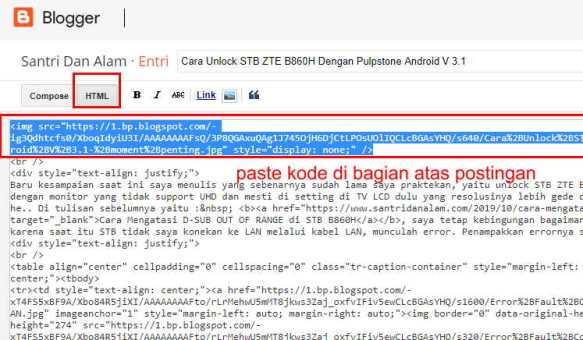 meletakkan kode untuk custom thumbnail di blogger