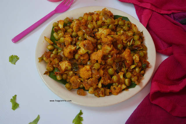 Chettinad Cauliflower Green Peas Roast Recipe | Cauliflower Patani Roast
