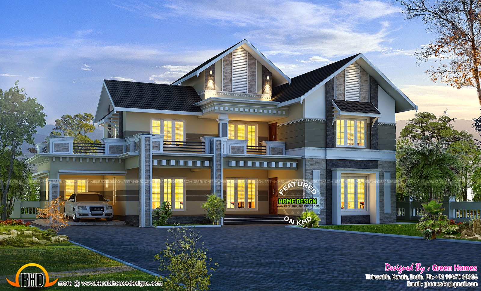 February 2015 kerala home design and floor plans for Colonial style home design in kerala