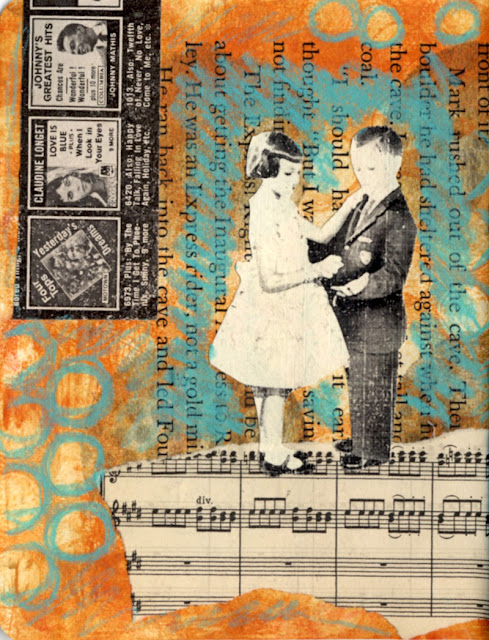 hand cut paper collage about music