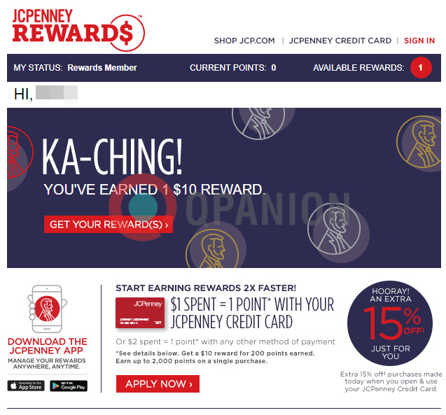 jcpenney offers a free 10 reward when you download their jcpenney app read more here - Jcpenney Rewards Credit Card