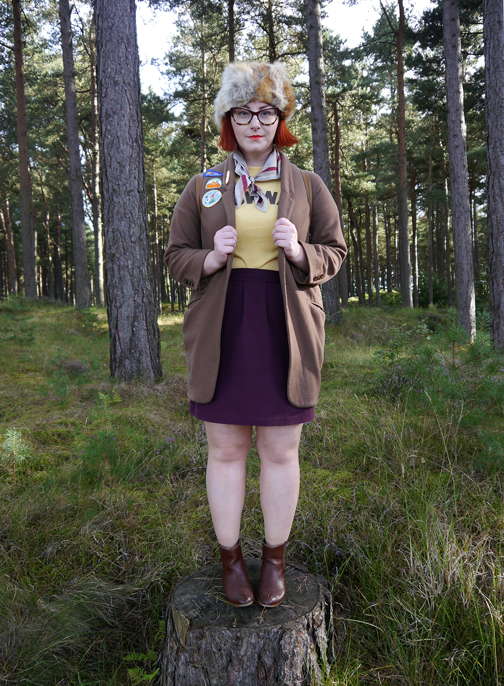 khaki scouts, Scottish blogger, style blogger, Moonrise Kingdom outfit, Moonrise Kingdom style, costume idea, Wes Anderson inspired outfit, Sam Moonrise Kingdom, scout style, Moonrise kingdom inspired outfit, vintage style, fur hat, Spex Pistols glasses, patches for adventurers, Lucky Dip Club patches, Olivia Mew cat scarf, vintage Brownies tshirt, Rag Trade Vintage, primark backpack, adventurer style