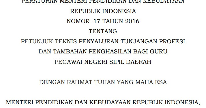 Permendikbud Nomor 17 Tahun 2016