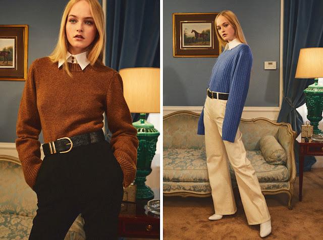 Коричневый и голубой свитер с белой рубашкой, заправленный внутрь с ремнем