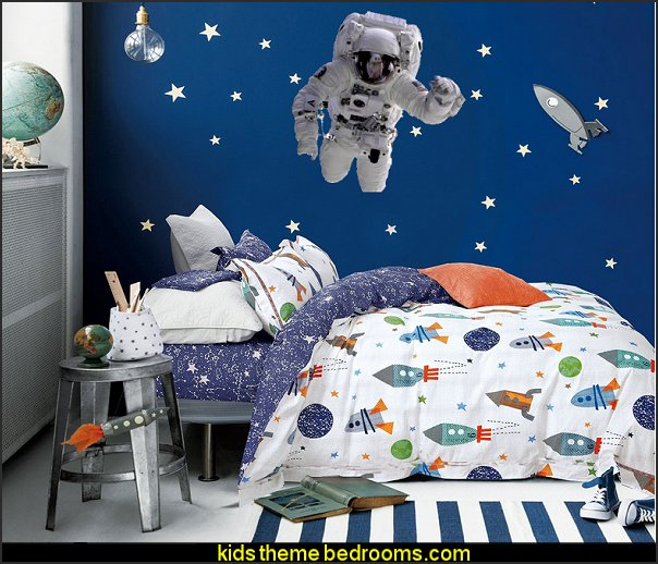 Astronaut Space Man  Wall Decal Kids Space Bedding  Outer space decor - space themed kids rooms - planets decor - astronaut wall murals  - outer space  space-themed-bedding-bedroom-ideas-boys-room-decor-large-size-outer-decorating-rocket-affordable-best-imagesbedding - galaxy themed room decor - space themed bedding - planet wall decals - robots rockets monsters aliens -