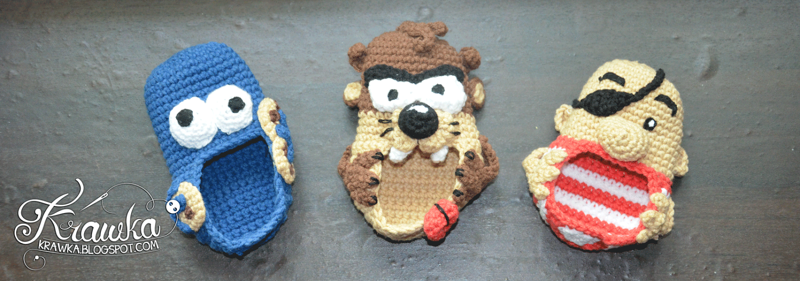 Buciki, kapcie dziecięce w kształcie cistaeczkowego potwora, diabła tasmańskiego, pirat - zrobione na szydełku techniką amigurumi. Crochet baby boots in shape of cookie monster, tasmanian devil crochet, pirate inspired amigurumi