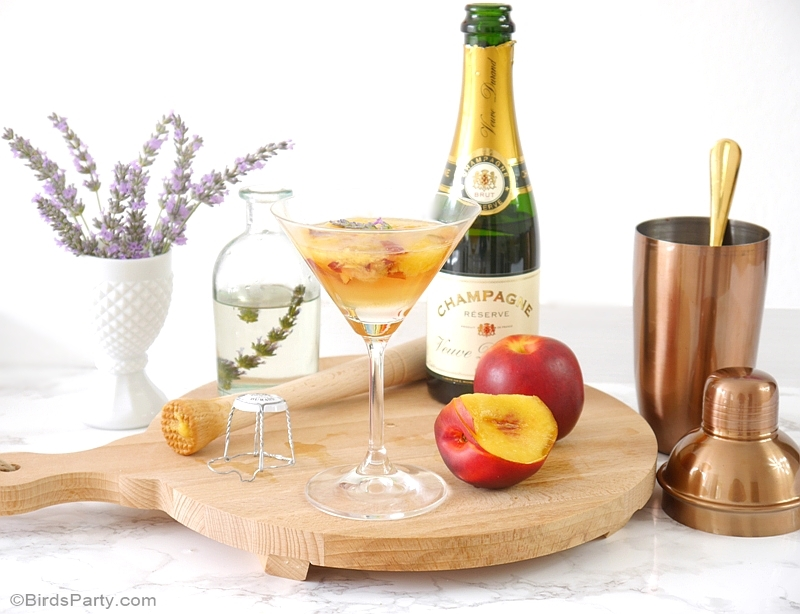 Lavender & Peach Champagne Cocktail Recipe - BirdsParty.com