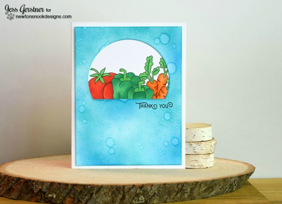 Thank you Veggie card by Jess Gerstner | Vegetable Garden stamp set by Newton's Nook Designs #newtonsnook