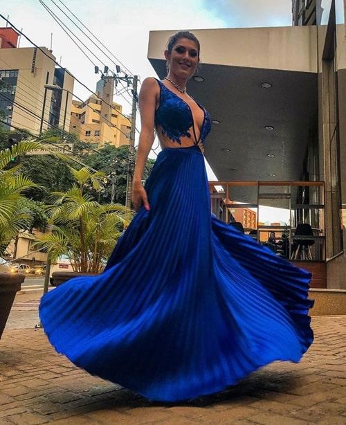 vestido de festa longo azul royal plissado