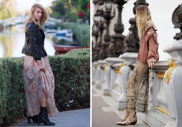 Девушка в байкерской куртке и легком платье макси с цветочным принтом