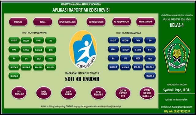 Download Aplikasi Rapor Kurikulum 2013 Kelas 4 MI Semetser 1 dan 2 Revisi Terbaru