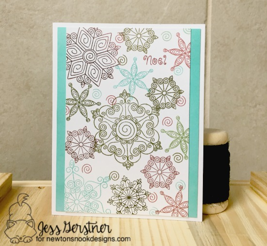 Snowflake Card by Jess Gerstner | Inky Paws Challenge 38 | Beautiful Blizzard Stamp Set by Newton's Nook Designs #newtonsnook
