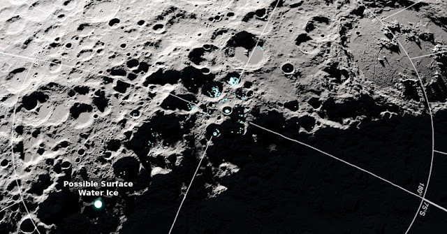 In craters near the south pole of the moon, NASA's Lunar Reconnaissance Orbiter found some bright areas and some very cold areas. In areas that are both bright and cold, water ice may be present on the surface as frost. Credits: NASA's Goddard Space Flight Center/Scientific Visualization Studio