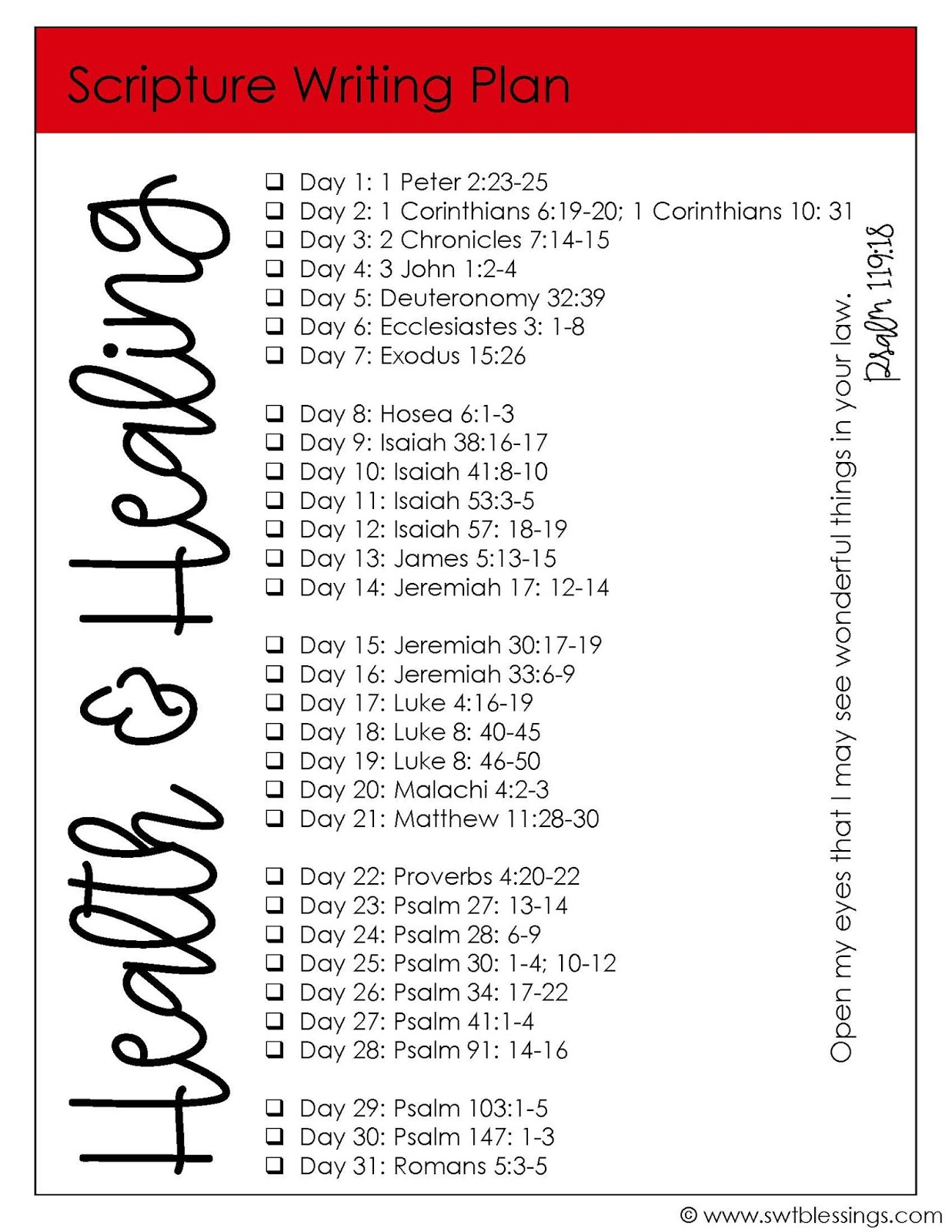 Sweet Blessings: February Scripture Writing Plan: Health and