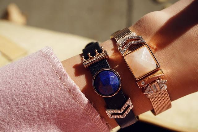 crown sparkles charm slider bracelet and rose gold mesh slider charm bracelet by insider UK boutiq