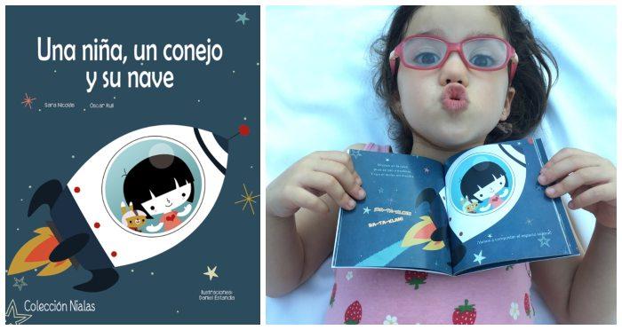 mini libros cuentos formato pequeño snacks tragamanzanas Una niña, un conejo y su nave