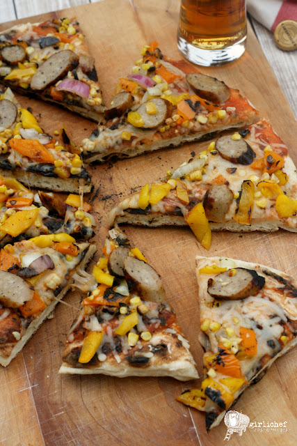Grilled Pizza w/ Onions, Peppers, Corn & Brats