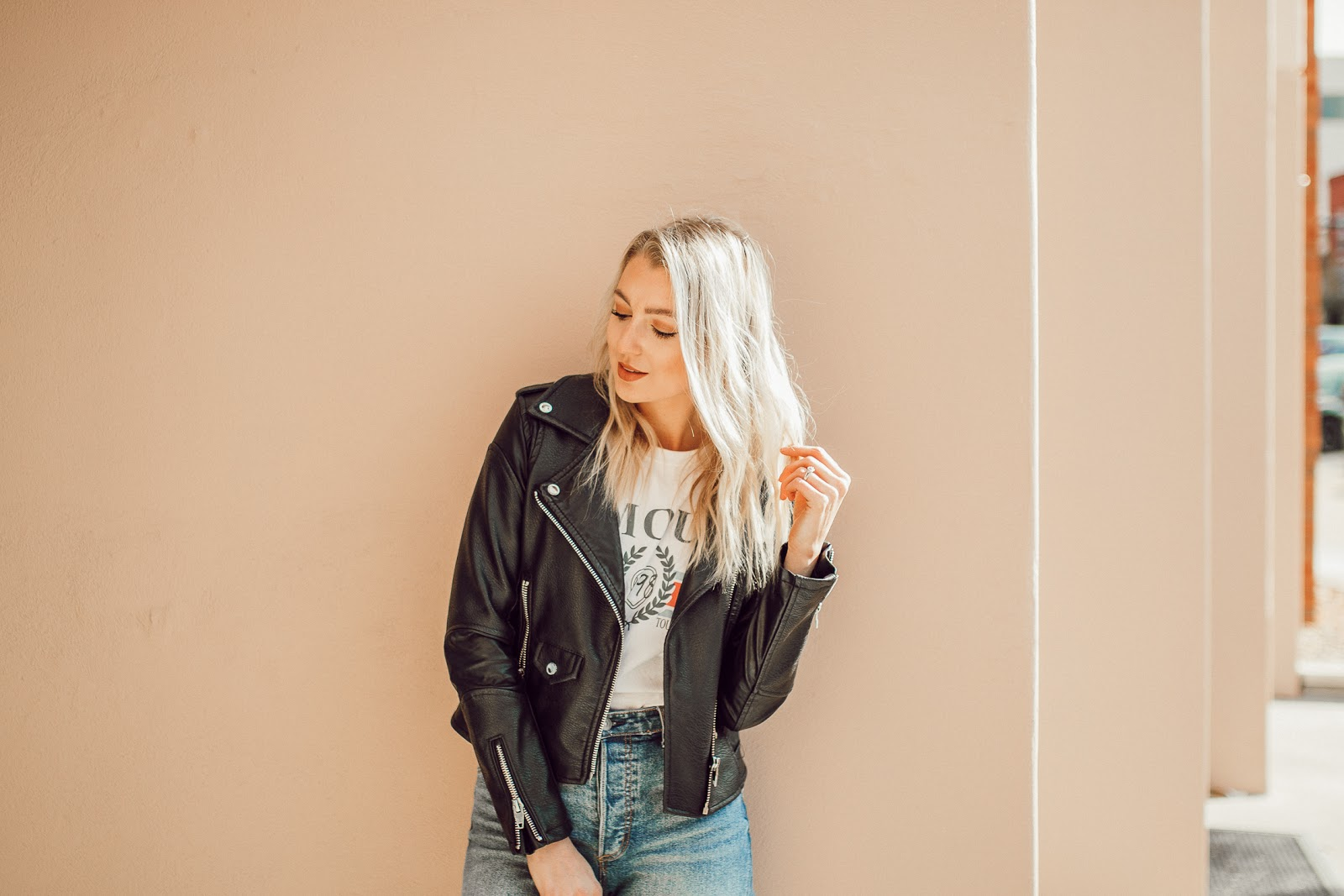 leather jacket + graphic tee