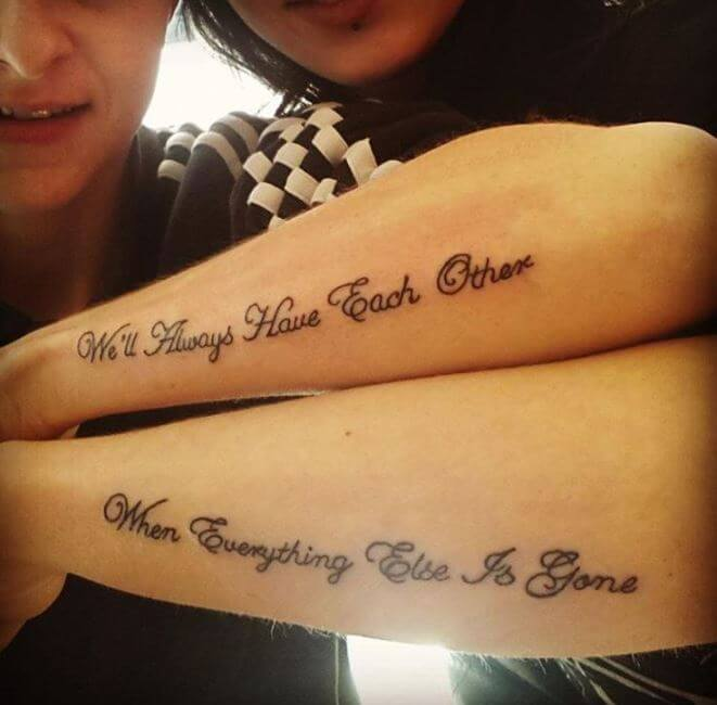 Tattoo Quotes For Sisters: 80+ Meaningful Sibling Tattoos For Brothers & Sisters