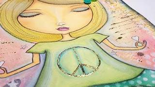 hand-drawn whimsical yoga girl