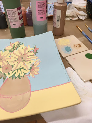 work-in-progress pottery painting