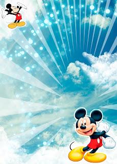 Tarjeta de Invitación de Mickey Mouse Azul Cielo