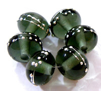 Handmade Lampwork Glass Beads, Dark Steel Gray, Silver, Shiny 088gfs