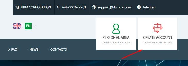 Регистрация в HBM Corporation