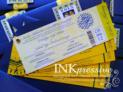 Muslim Wedding Invitation Ticket Style Gold And Royal Blue