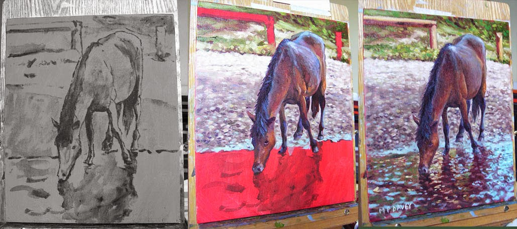 horse drinking from stream WIP oil painting