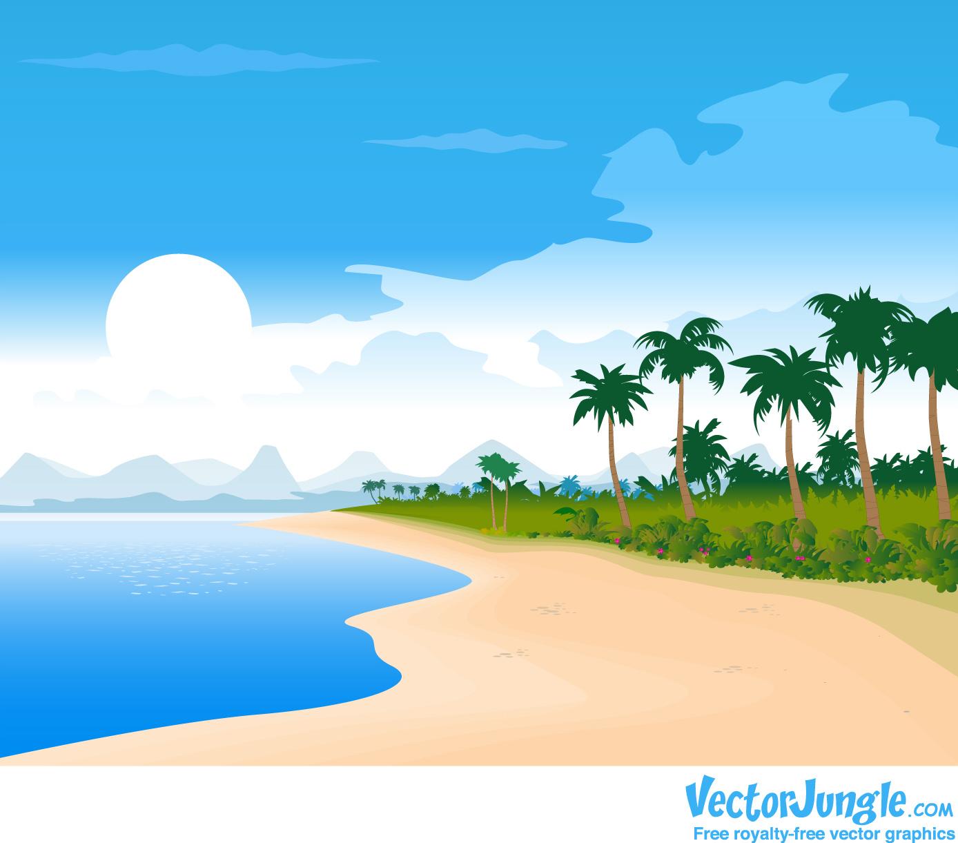 cartoon beach scene clip - photo #18