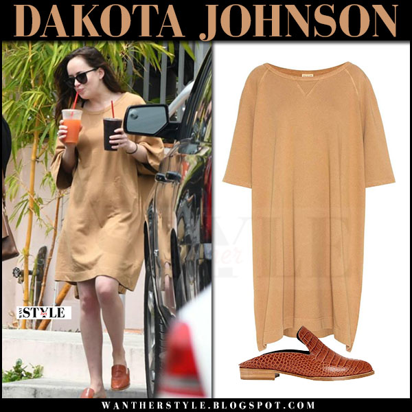 Dakota Johnson in camel sweatshirt dress and brown loafers what she wore april 2017