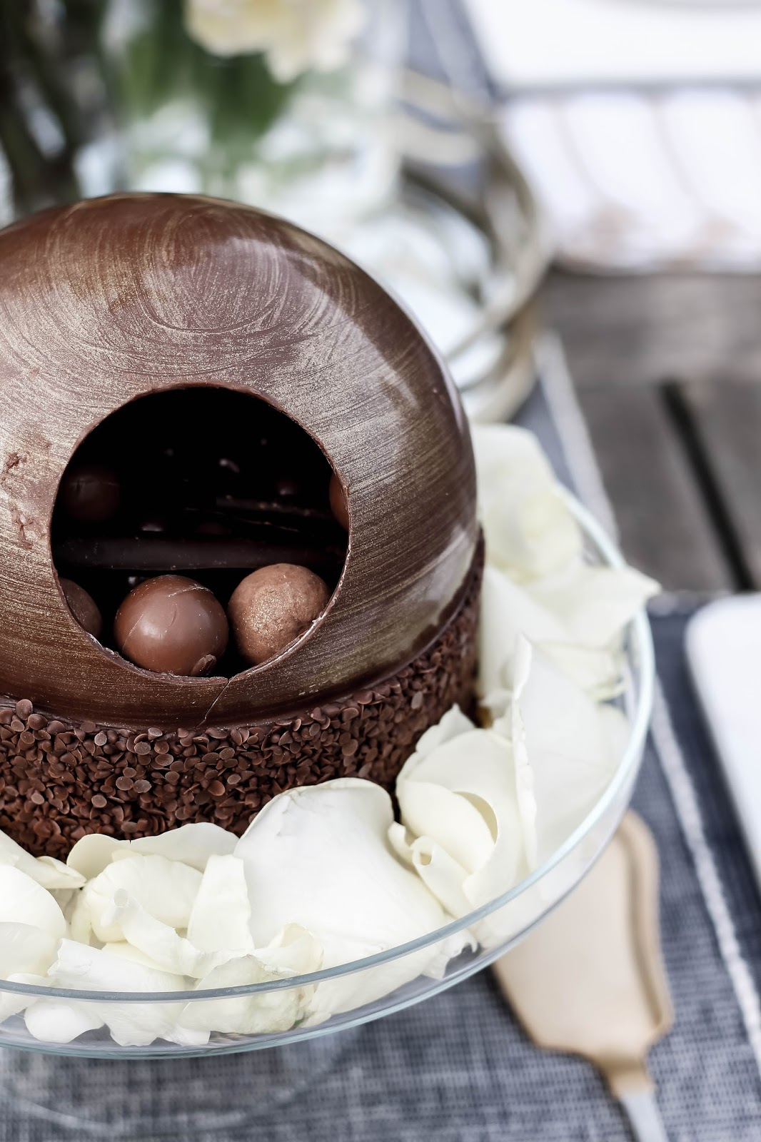M&S Chocolate Dome Cake Filled With Truffles and Malteesers