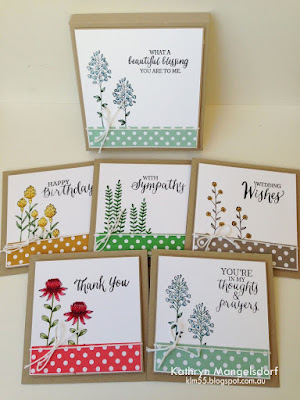Stampin' Up! Flowering Fields Gift Box and Matching Cards by Kathryn Mangelsdorf