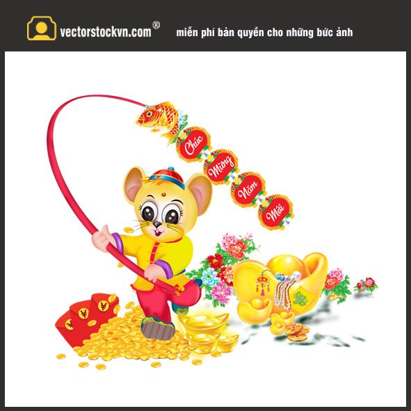 Chuột Vàng in lịch tết 2020 mẫu đẹp