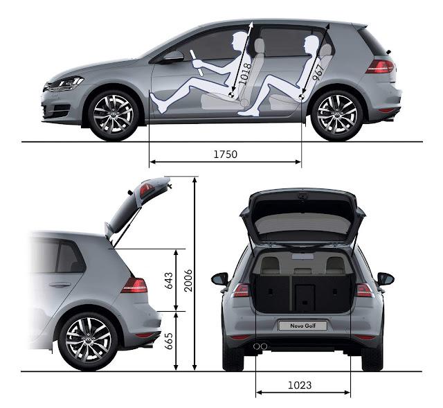 VW Golf 2017 - espaço interno