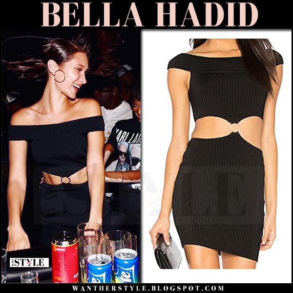 Bella Hadid in black cutout off shoulder mini dress arc vivian what she wore may 29 2017