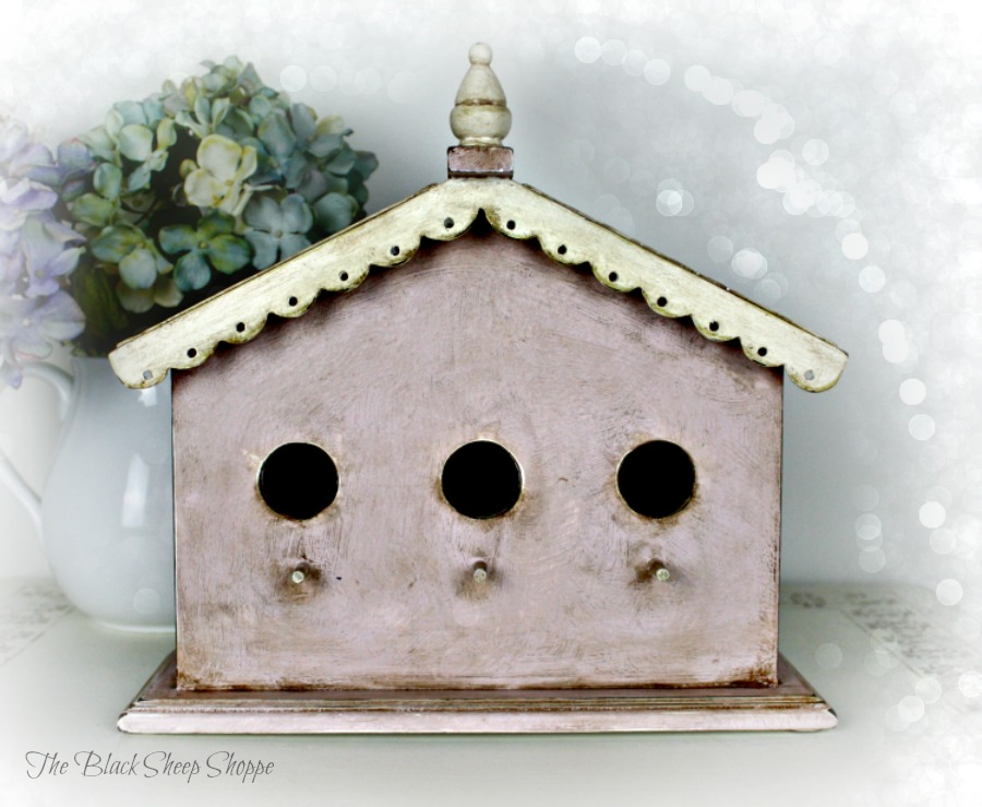 Thrift store birdhouse painted in Antoinette Pink chalk paint.