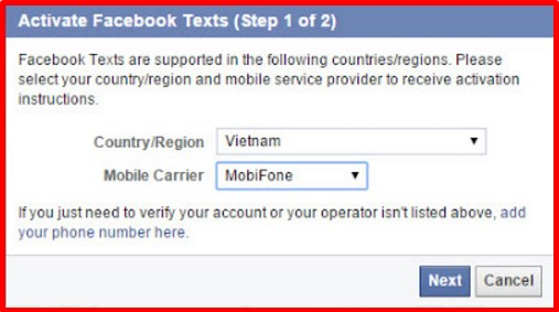facebook login using cell phone number