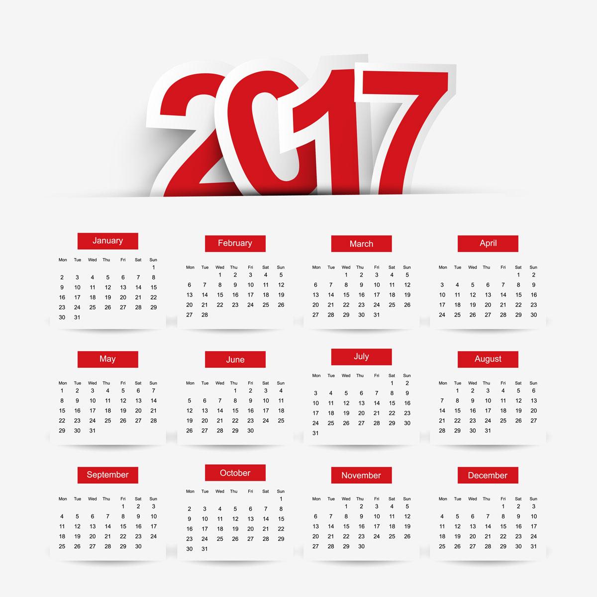 تقويم 2017 هجري وميلادي كامل ومحدث
