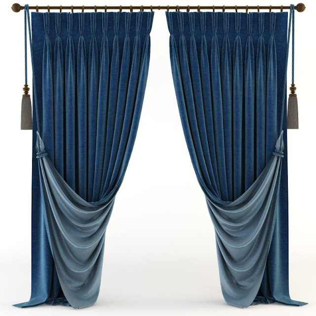 Modern curtain ideas in blue velvet material with rings