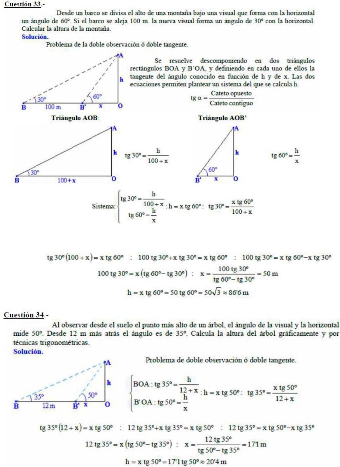 Ejercicios de trigonometría (tríangulos)