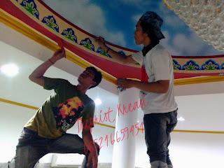 Lukis kaligrafi arab, lukis kubah masjid, dekorasi kubah masjid, lukis kaligrafi, lukis awan, lukis plafond