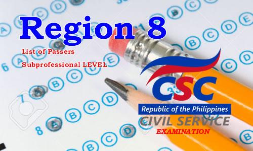 List of Passers Region 8 August 2017 CSE-PPT Subprofessional Level